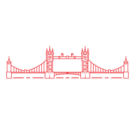 london tower bridge: Linear illustration of tower bridge in London