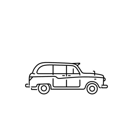 black cab: Linear illustration of a London taxi, black cab. Illustration