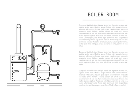 The set of items of equipment for boiler rooms and heating in the cold season. Heating boiler, Bolek, water heater, heat accumulators, battery painted in the style outline, linear Illustration