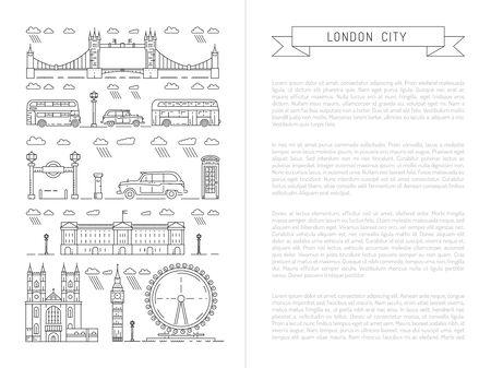 Historische en moderne symbolen van Londen en het Verenigd Koninkrijk.