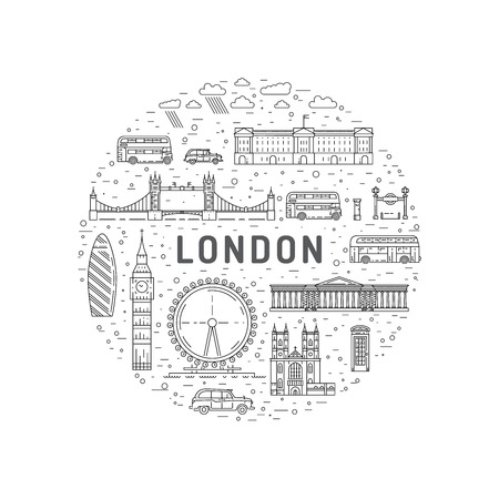 Historical and modern symbols of London and British culture,