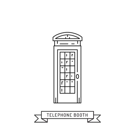 phonebox: The linear vector london telephone booth isolated on white background