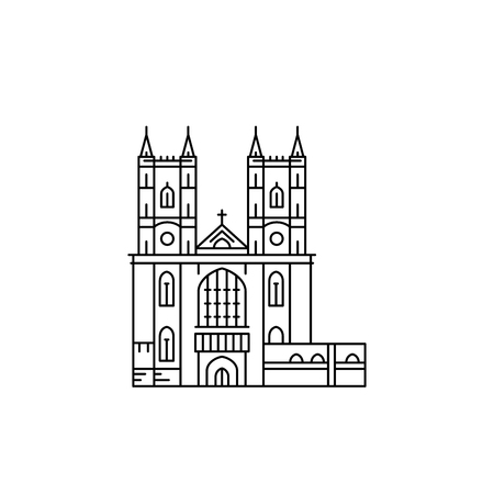westminster abbey: Westminster Abbey in London, outline vector isolated.