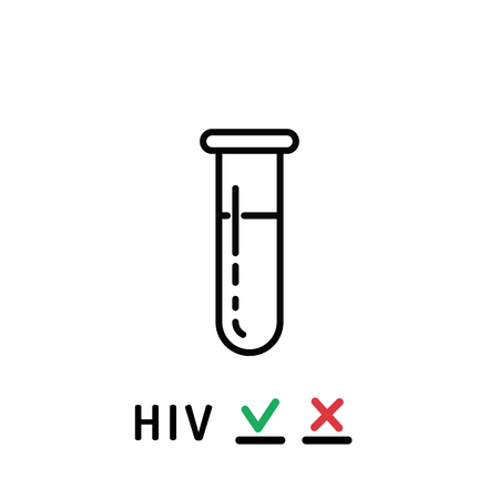 blood sample: Plastic test tube with a blood sample for HIV testing.