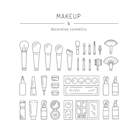 Set of Decorative cosmetics for makeup in a outline style. Illustration
