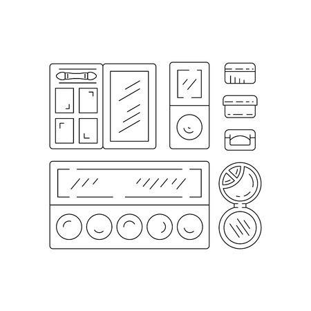 corrector: Set of Decorative cosmetics for makeup in a outline style. Illustration