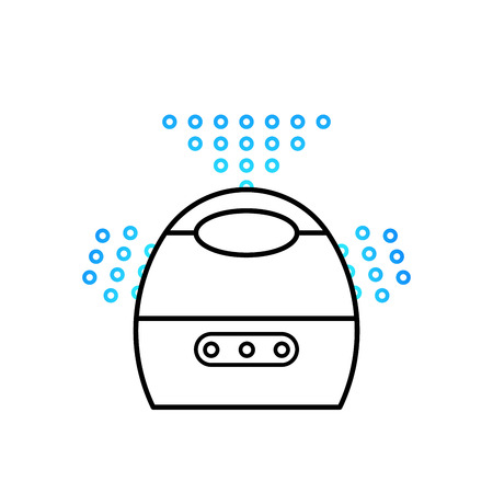 acclimatization: Vector illustration of a humidifier for childrens room. Lne vector humidifier icon. Air purifier.