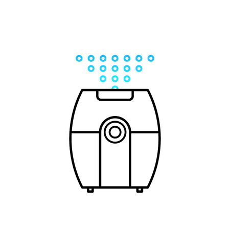 Vector illustration of a humidifier for childrens room. Lne vector humidifier icon. Air purifier.