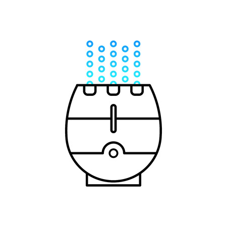 ionizing: Vector illustration of a humidifier for childrens room. Lne vector humidifier icon. Air purifier.