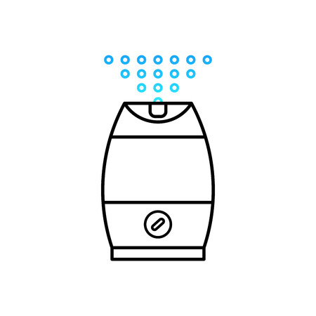 ions: Vector illustration of a humidifier for childrens room. Lne vector humidifier icon. Air purifier.