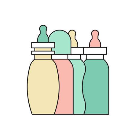 bottle feeding: Vector baby bottle. Baby milkbottle flat icon. Baby bottle feeding vector illustration. Illustration
