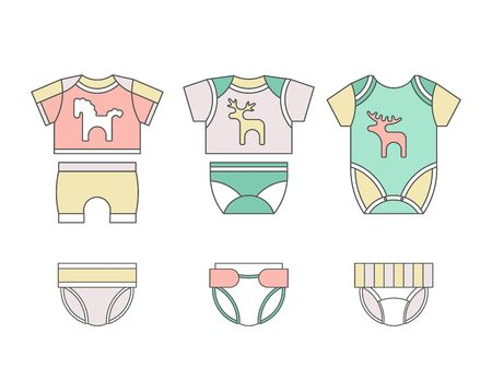babby: Vector baby clothes. Baby t-shirt, shorts, panties, diapers bodysuit flat template isolated on white background. Vector newborn apparel.