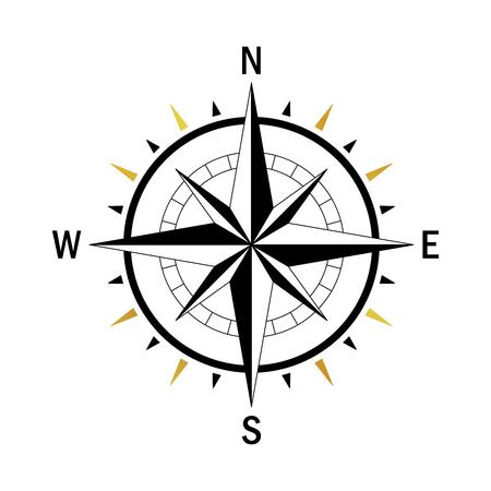 Isolierte Vektor-Kompass. Vector geo markieren Wind Rose. Rose Wind in gerader Linie Stil. Foto von Kompass für Columbus Day. Vector marine Windrose für die Reise, Navigationsdesign. Standard-Bild - 61463014
