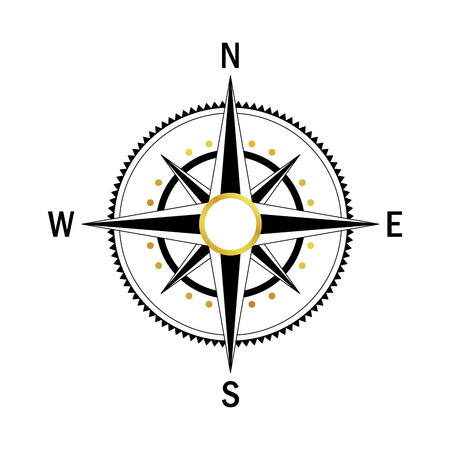 equator: Isolated vector compass. Vector geo mark Wind Rose. Rose Wind in lineal style. Image of Compass for Columbus Day. Vector marine wind rose for travel, navigation design.