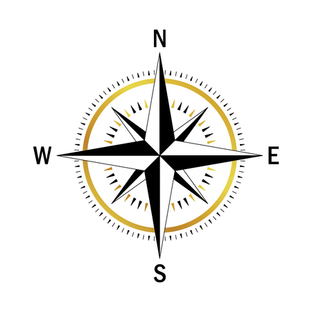 meridian: Isolated vector compass. Vector geo mark Wind Rose. Rose Wind in lineal style. Image of Compass for Columbus Day. Vector marine wind rose for travel, navigation design.