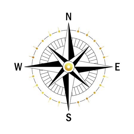 compass rose: Isolated vector compass. Vector geo mark Wind Rose. Rose Wind in lineal style. Image of Compass for Columbus Day. Vector marine wind rose for travel, navigation design.