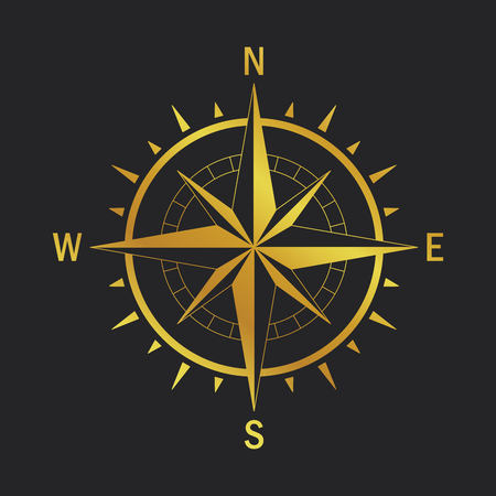Isolated vector compass. Vector geo mark Wind Rose. Rose Wind in lineal style. Image of Compass for Columbus Day. Vector marine wind rose for travel, navigation design.