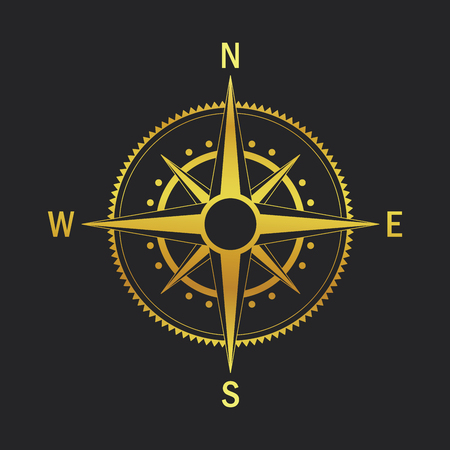 geo: Isolated vector compass. Vector geo mark Wind Rose. Rose Wind in lineal style. Image of Compass for Columbus Day. Vector marine wind rose for travel, navigation design.
