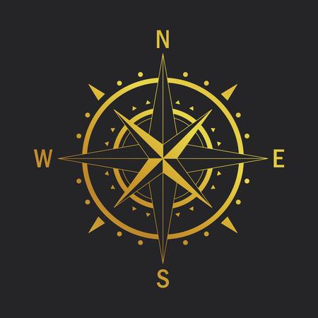 孤立したベクターのコンパス。ジオ マーク風のバラをベクトルします。ローズ風直系スタイル。コロンブス記念日のためのコンパスのイメージ。ナ