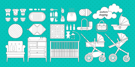 Retail and wholesale kids shop. Cribs, baby stroller, childrens clothing, toys and other baby stuff for a newborn. Vector kids shopping list set in flat style.