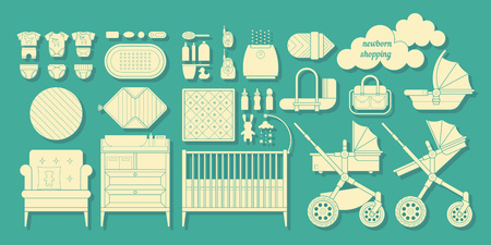 baby stuff: Icons of products for newborns. Cribs, baby stroller, childrens clothing, toys and other baby stuff for a newborn. Vector baby gear icon set in flat style.