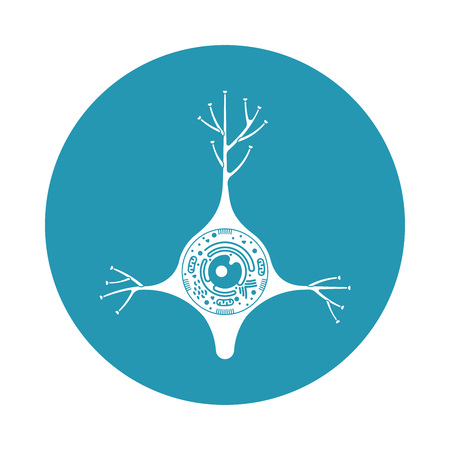 lysosome: Isolated neurone cell biology icon. Neurone cell anatomy structure vector illustration. Axon cell body. Illustration