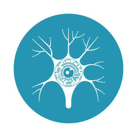 Isolated neurone cell biology icon. Neurone cell anatomy structure vector illustration. Axon cell body. Illusztráció