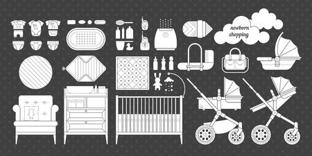 humidifier: Icons of products for newborns. Cribs, baby stroller, childrens clothing, toys and other baby stuff for a newborn. Vector baby gear icon set in flat style.