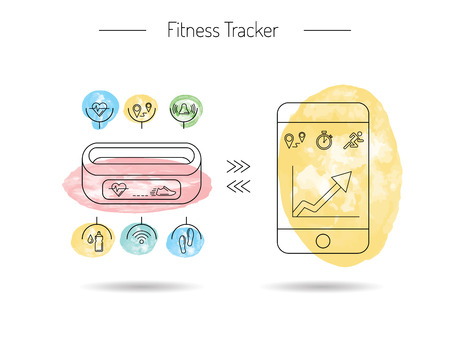 performed: Wearable electronics, gadget fitness or activity tracker bracelet that reads the state of the body during daily life and sports activities in the gym or outdoors. Set icons performed in a linear style