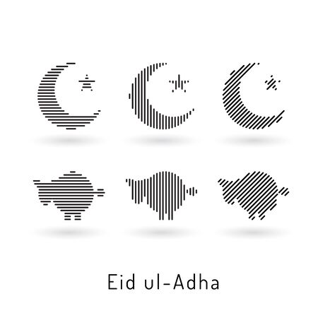 ul: Beautiful abstract design element of the Islamic culture of the Crescent with the star, drawn for for muslim community festival Eid ul Adha.