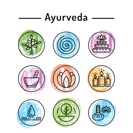 Ayurveda vector illustration icon vata, pitta, kapha. Ayurvedic body types. Ayurvedic infographic. Healthy lifestyle. Harmony with nature.