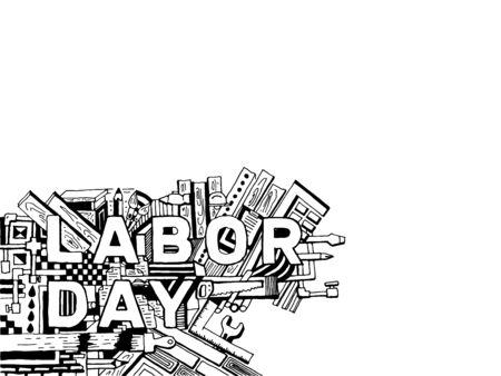 Cartoon Handzeichnung Vektor-Grafik-Labor Day Hintergrund