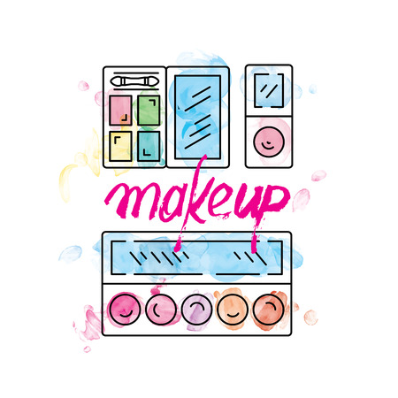 corrector: Set of Decorative cosmetics for makeup in a outline watercolor style.