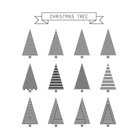 tree line: Set christmas tree in line art, different stile, for postcard, poster, gifts. Christmas tree vector market outline.