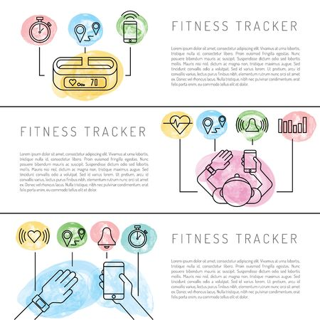 daily life: Wearable electronics, gadget fitness or activity tracker bracelet that reads the state of the body during daily life and sports activities in the gym or outdoors. Set icons performed in a linear style
