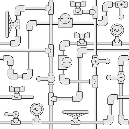 Simles background Pattern consisting of metal or plastic pipes with valves, pressure gauges, plugs, pumps, painted in a flat, outline, linear style