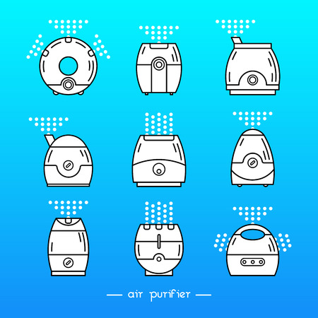 ions: Vector illustration of a humidifier. Line vector air cleaner icon. Air purifier set.