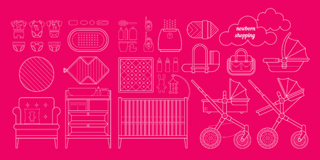 baby stuff: Newborn essentials shopping list. Vector baby stuff for a newborn. The plan purchases for a newborn. Baby buy set. Cribs, baby stroller, childrens clothing, toys and other baby stuff for a newborn.