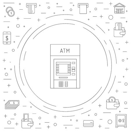 internet terminals: Vector set of icons in linear style on the subject of money, Finance, banking, ATMs Illustration