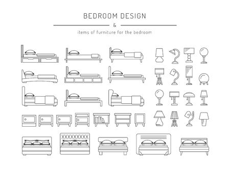 bedside: A set of furniture for the bedroom, beds, bedside tables and table lamps in a linear, outline fashion