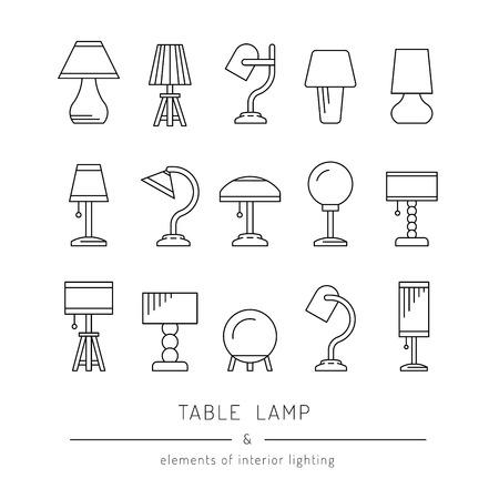 L'ensemble des éléments de conception d'éclairage, lampes de table de différents types et tailles pour une utilisation dans les chambres, les bureaux, les salles de séjour, chambre d'enfants.