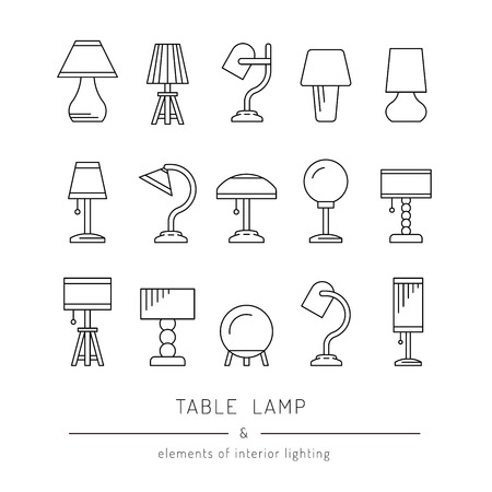 table sizes: The set of elements of lighting design, table lamps of various types and sizes for use in bedrooms, offices, living rooms, kids room.