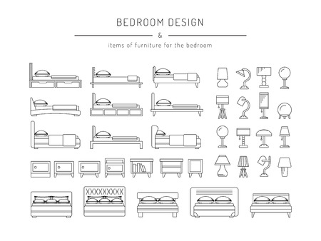 bedside tables: A set of furniture for the bedroom, beds, bedside tables and table lamps in a linear, outline fashion