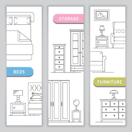 bedside tables: A banner of furniture for the bedroom, beds, bedside tables and table lamps in a linear, outline fashion. Storage in the bedroom and in the house. Illustration