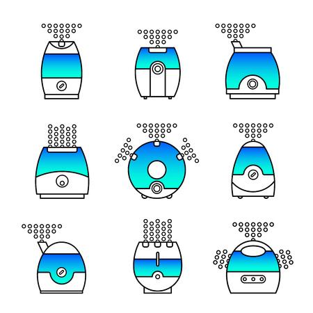 air cleaner: Ilustración vectorial de un humidificador. vector icono de línea de filtro de aire. set purificador de aire.