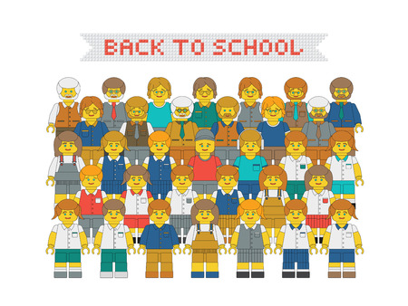 New academic year poster. Flat vector plastic toy people. Vector cartoon teachers and children in school uniform. Illustration