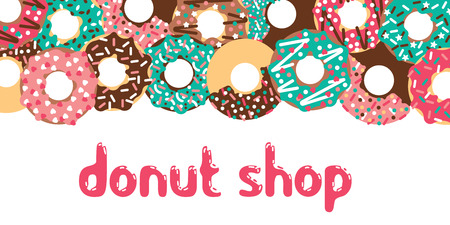 topping: Donuts shop design. Vector donuts isolated. Deserts food in a flat style. Sweet donuts with frosting and caramel topping.