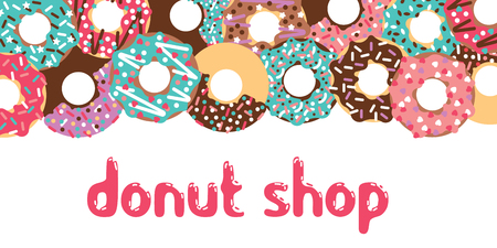 patisserie: Donuts patisserie banner. Vector donuts isolated. Deserts food in a flat style. Sweet donuts with frosting and caramel topping.