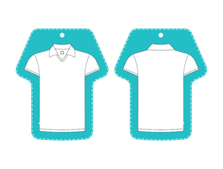 front and back: T-shirt tag template front, back view. T-shirt tag isolated on white.