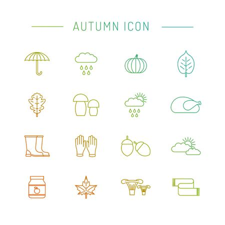 Collection of autumn icons. Collection of autumn clothes items. Autumn harvest foods and plants.